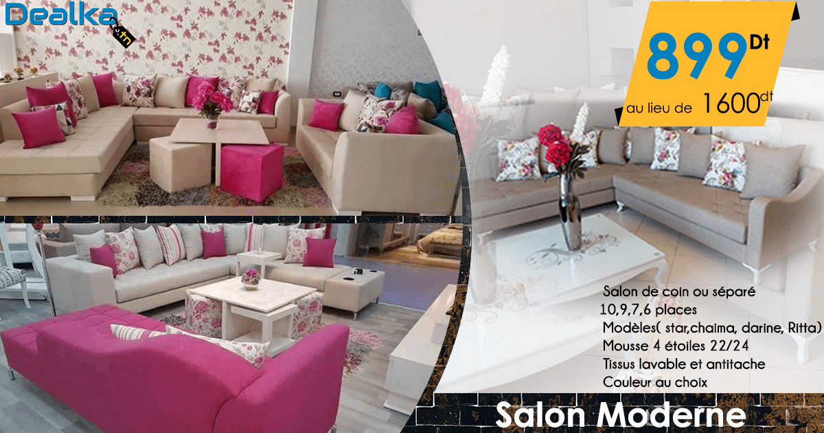 Salon moderne et chic dealka for Meuble 5 etoiles tunisie ezzahra
