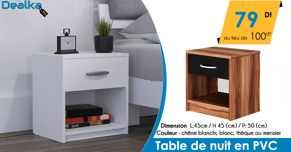 table de nuit en pvc dealka. Black Bedroom Furniture Sets. Home Design Ideas